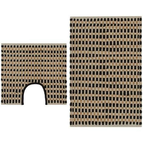 Hand-Woven Jute Bathroom Mat Set Fabric Natural and Black