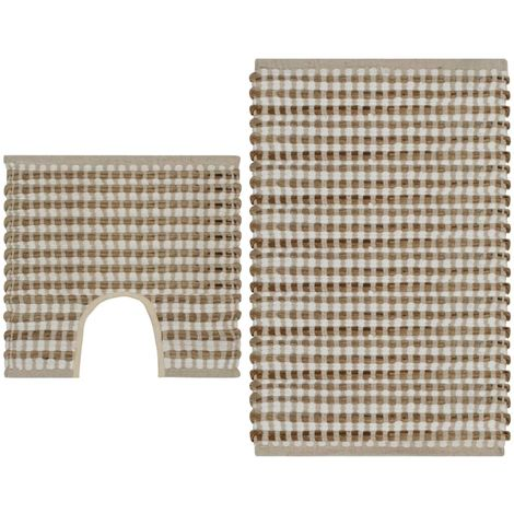 Hand-Woven Jute Bathroom Mat Set Fabric Natural and White