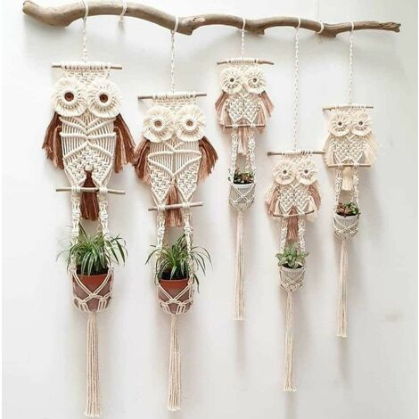 Hand-Woven Rope Owl Planter