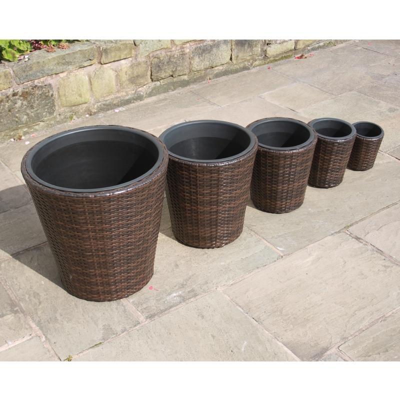 225 & Hand Woven Set of 5 Rattan Round Flower Pots Planters Garden Furniture