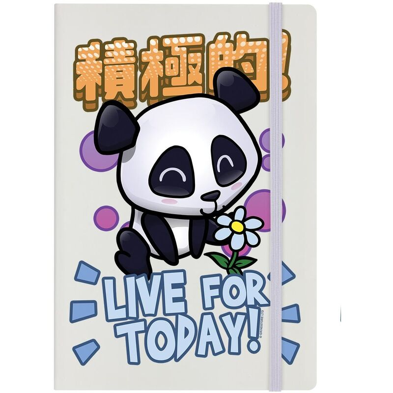 Image of Live For Today A5 Notebook (A5) (Cream/Black/Yellow) - Handa Panda
