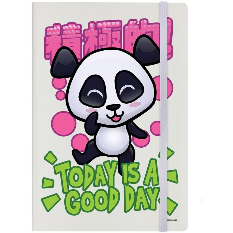 Image of Today Is A Good Day A5 Notebook (A5) (Cream/Black/Green) - Handa Panda