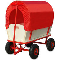 Handcart Garden Cart Pull Wagon Transport Truck with Roof Red 100 Kg 77 x 45 x 28 cm