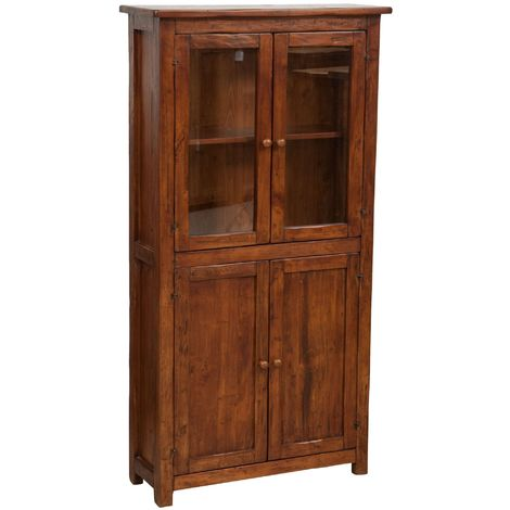 Handcrafted solid wood linden display hutch cabinet. Made in Italy