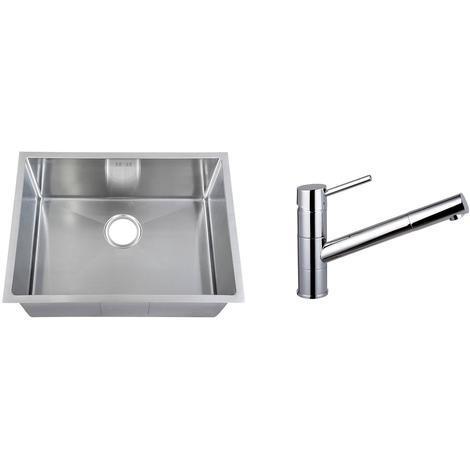 Handemade 1.0 Bowl Stainless Steel Undermount Kitchen Sink & Mixer Tap KST162
