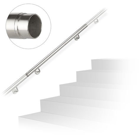 Handlauf, 304er Edelstahl, erweiterbar, innen & außen, 100 cm, Ø 42 mm, mit Halterung, Treppengeländer, silber