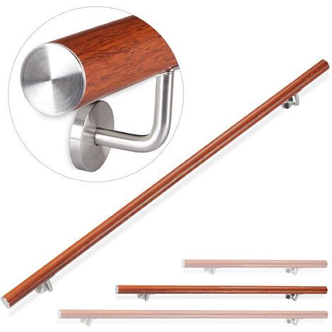 Handlauf Aluminium, rund, Treppengeländer innen, außen, Eiche-Optik, 150 cm, Ø 42mm, mit Wandhalterung, braun