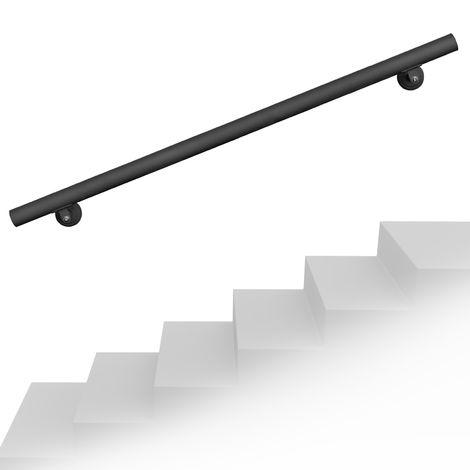 Handlaufset Wandhalter 190cm Schwarz Handlauf Haltegriff Treppe Edelstahl