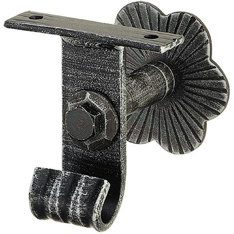 Handlaufträger mit Winkel, Wandabstand 60, schwarz lackiert, patiniert