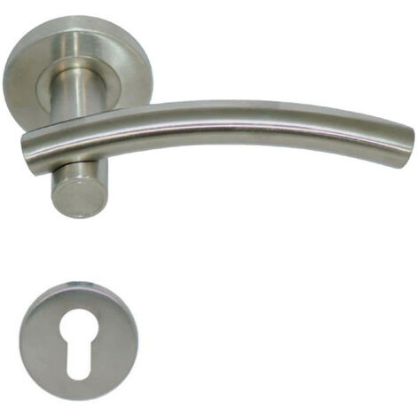 Handles model Leognan with round cylinder roses - stainless steel 304 brushed matt x2