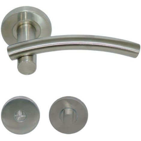 Handles model Leognan with round roses with lock without sight glass - stainless steel 304 brushed matt