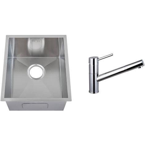 Handmade 1.0 Bowl Stainless Steel Undermount Kitchen Sink & Mixer Tap (KST154)