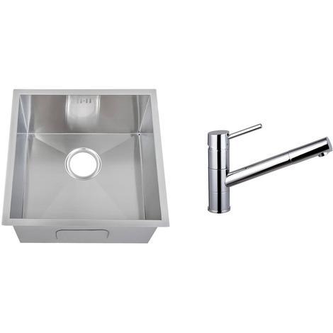 Handmade 1.0 Bowl Stainless Steel Undermount Kitchen Sink & Mixer Tap (KST155)
