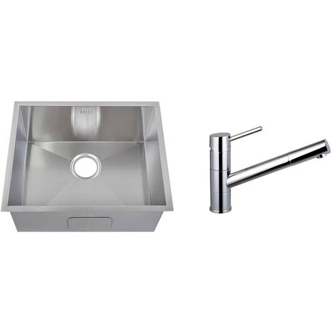 Handmade 1.0 Bowl Stainless Steel Undermount Kitchen Sink & Mixer Tap (KST156)
