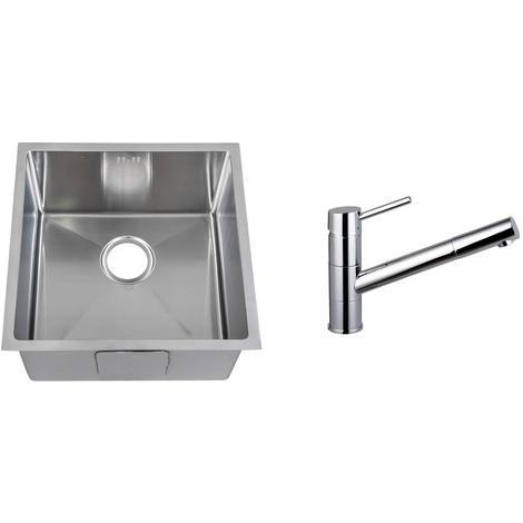 Handmade 1.0 Bowl Stainless Steel Undermount Kitchen Sink & Mixer Tap (KST161)