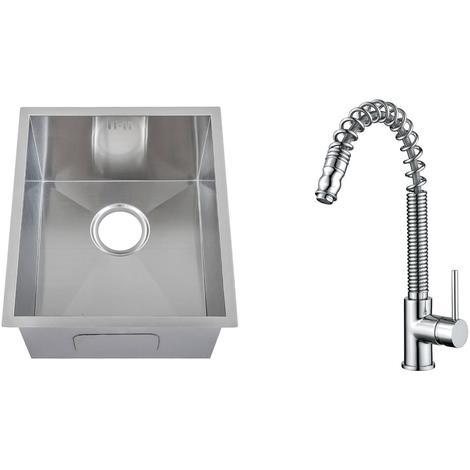 Handmade 1.0 Bowl Stainless Steel Undermount Kitchen Sink & Mixer Tap (KST174)