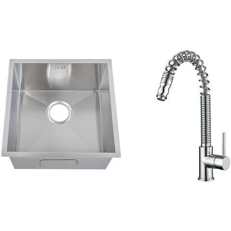 Handmade 1.0 Bowl Stainless Steel Undermount Kitchen Sink & Mixer Tap (KST175)