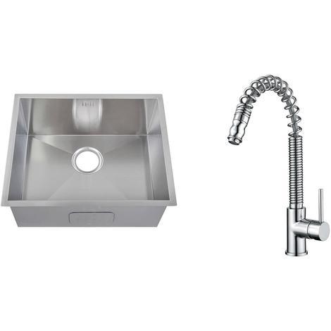 Handmade 1.0 Bowl Stainless Steel Undermount Kitchen Sink & Mixer Tap (KST176)