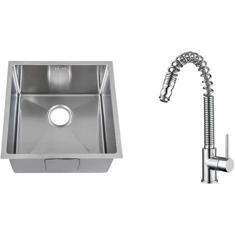 Handmade 1.0 Bowl Stainless Steel Undermount Kitchen Sink & Mixer Tap (KST181)