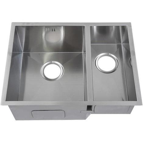 Handmade 1 5 Bowl Satin Stainless Steel Undermount Kitchen Sink 58 5 X 44 Ds009l