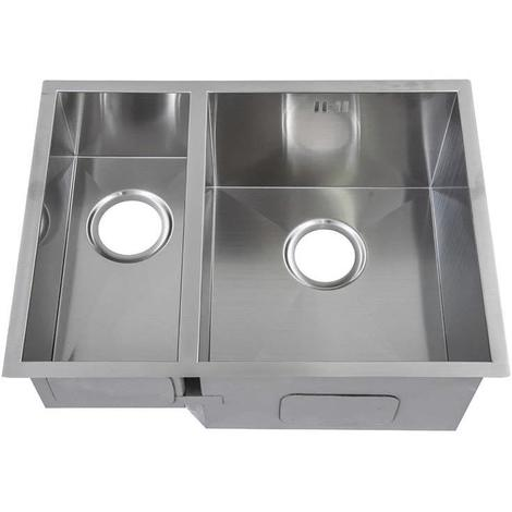 Handmade 1.5 Bowl Satin Stainless Steel Undermount Kitchen Sink 58.5 x 44 DS009R