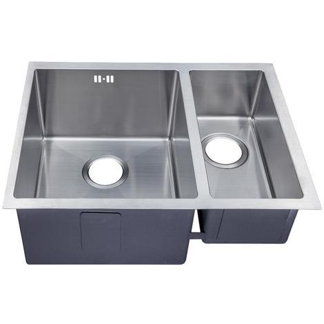 Handmade 1.5 Bowl Satin Stainless Steel Undermount Kitchen Sink 58.5 x 44 DS029L
