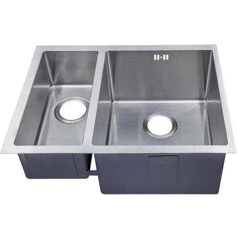Handmade 1.5 Bowl Satin Stainless Steel Undermount Kitchen Sink 58.5 x 44 DS029R
