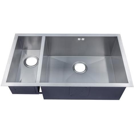 Handmade 1.5 Bowl Satin Stainless Steel Undermount Kitchen Sink 793 x 408 DS032R