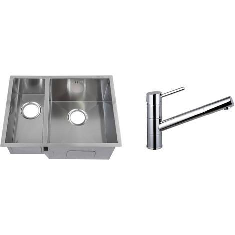 Handmade 1.5 Bowl Stainless Steel Undermount Kitchen Sink & Mixer Tap KST159