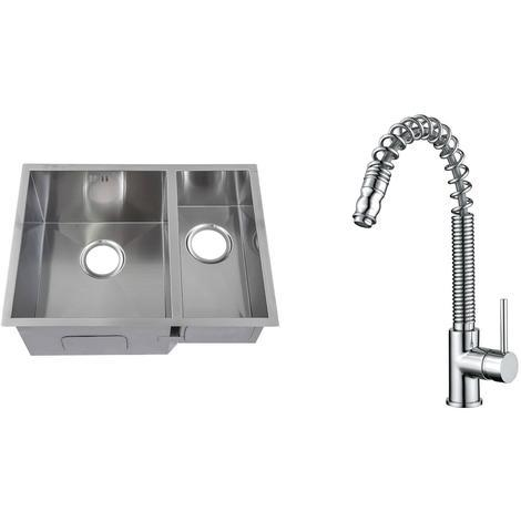 Handmade 1.5 Bowl Stainless Steel Undermount Kitchen Sink & Mixer Tap KST178