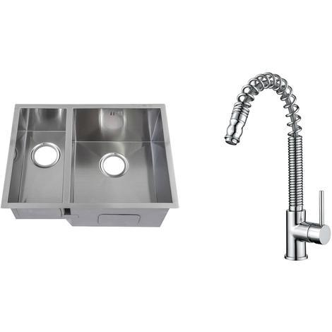 Handmade 1.5 Bowl Stainless Steel Undermount Kitchen Sink & Mixer Tap KST179