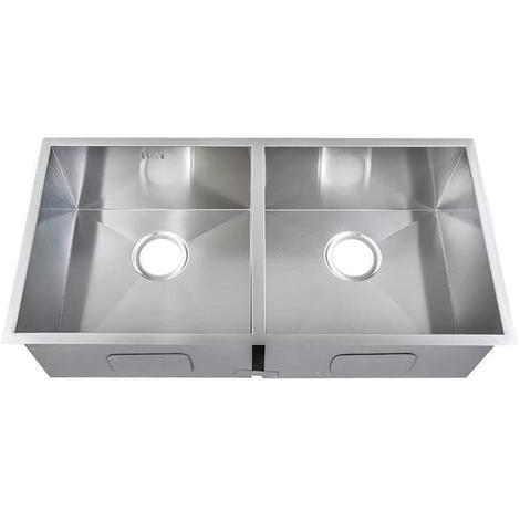 Handmade 2 Bowl Satin Stainless Steel Undermount Kitchen Sink 86.5x44cm DS0013