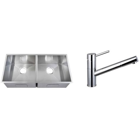Handmade 2 Bowl Stainless Steel Undermount Kitchen Sink & Mixer Tap KST160