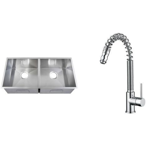 Handmade 2 Bowl Stainless Steel Undermount Kitchen Sink & Mixer Tap KST180