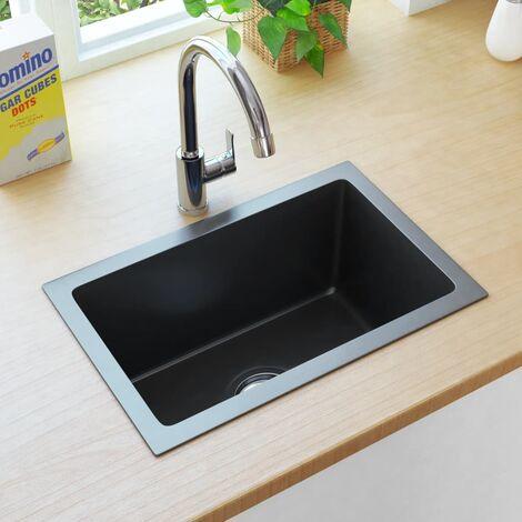 Handmade Kitchen Sink with Strainer Black Stainless Steel - Black
