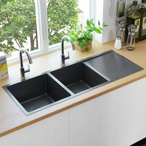 Handmade Kitchen Sink with Strainer Black Stainless Steel - Black