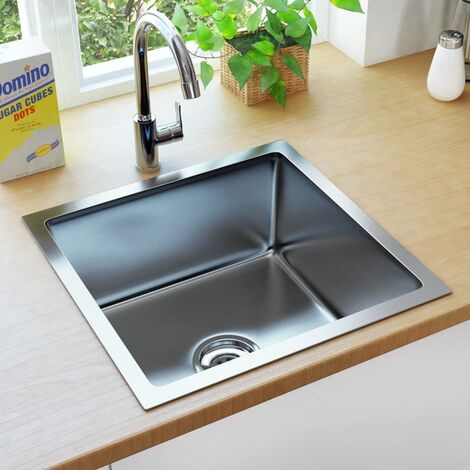 Handmade Kitchen Sink with Strainer Stainless Steel - Silver