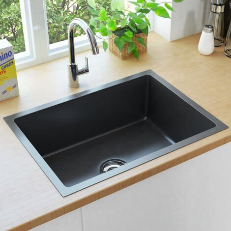 Handmade Kitchen Sink witStrainer Black Stainless Steel