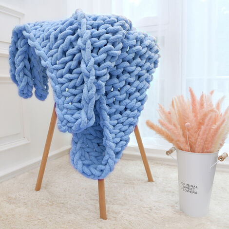 """main image of """"Handmade Knitted Blanket Thick Chenille Thread Bed Blanket Sofa Cover Photo Prop"""""""