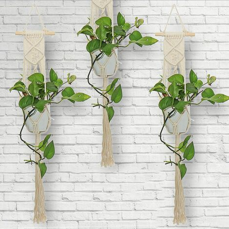 Handmade Plant Pot Holder Macrame Hanger Flower Planter Jute Rope Hanging Basket (TypeK)
