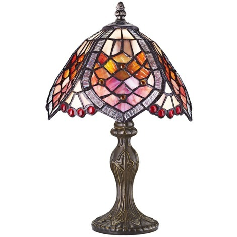 Handmade Red Beaded Stained Glass Tiffany Table Lamp by Happy Homewares
