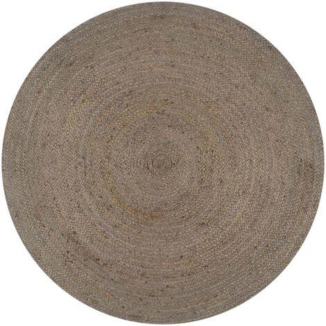 Handmade Rug Jute Round 150 cm Grey