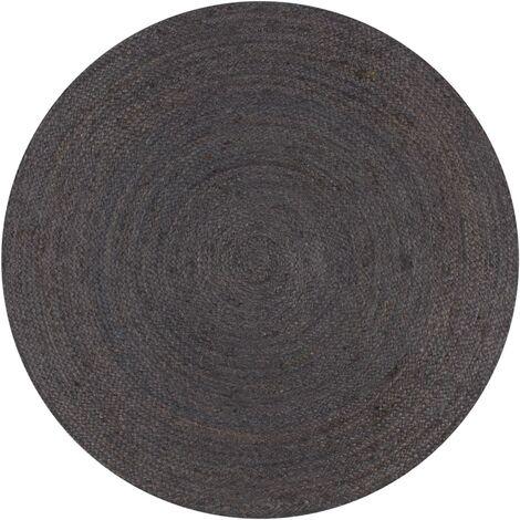 Handmade Rug Jute Round 90 cm Dark Grey