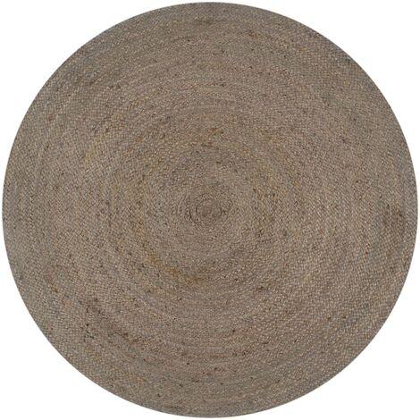 Handmade Rug Jute Round 90 cm Grey