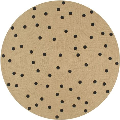 Handmade Rug Jute with Print Polka Dot 90 cm