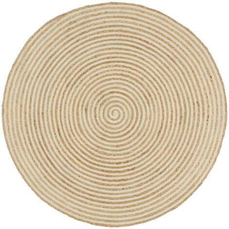 Handmade Rug Jute with Spiral Design White 120 cm