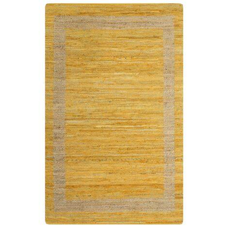 Handmade Rug Jute Yellow 80x160 cm