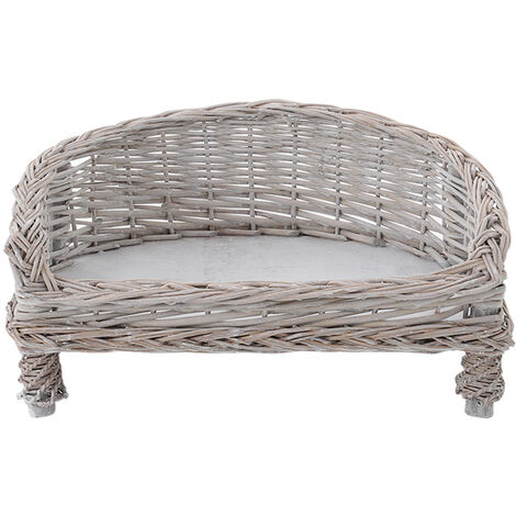 Handmade Wicker Pet Bed Willow Dog Cat Sofa Puppy Basket