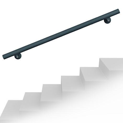 Handrail Set Wall Holder 100cm Banister Handhold Anthracite Stainless Steel