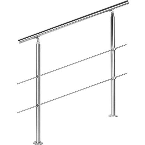 Handrail Stainless Steel 2 Cross Bars 80cm Balustrade Stair Staircase Rail